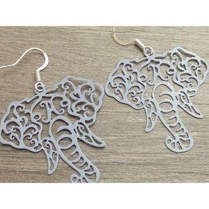 Jewelry - Elephant Filigree Earrings, Grey or Pink